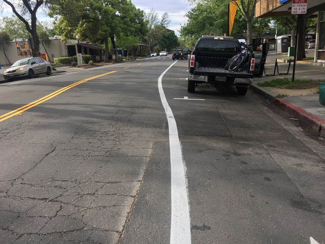 A non-conforming, yet freshly re-striped section of F street