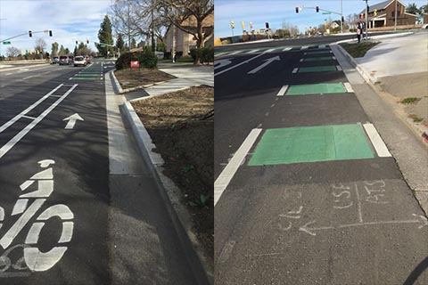 Bike lane markings direct bicyclists into unprotected intersection