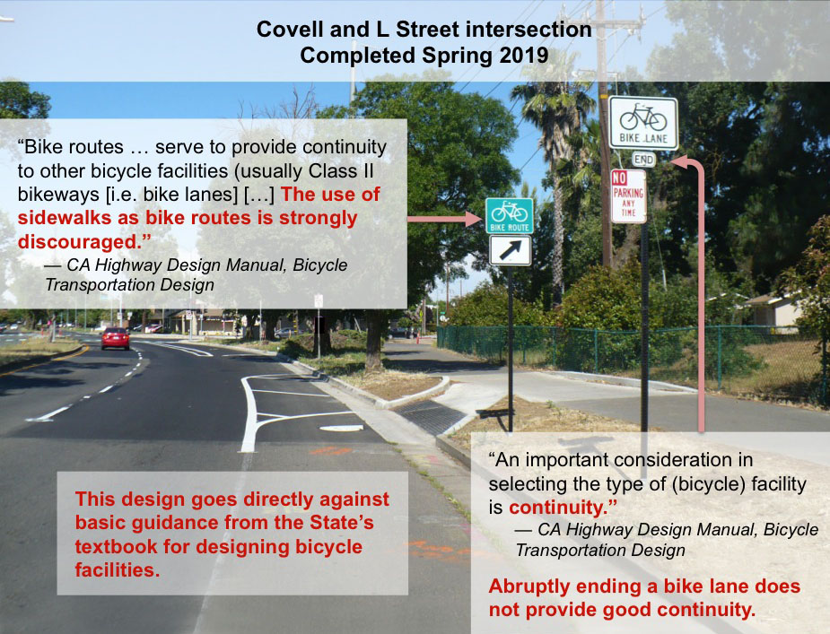 Pictured here: eastbound bike lane along Covell Blvd. approaching the L Street intersection. The photo below was taken just beyond this point, continuing east.