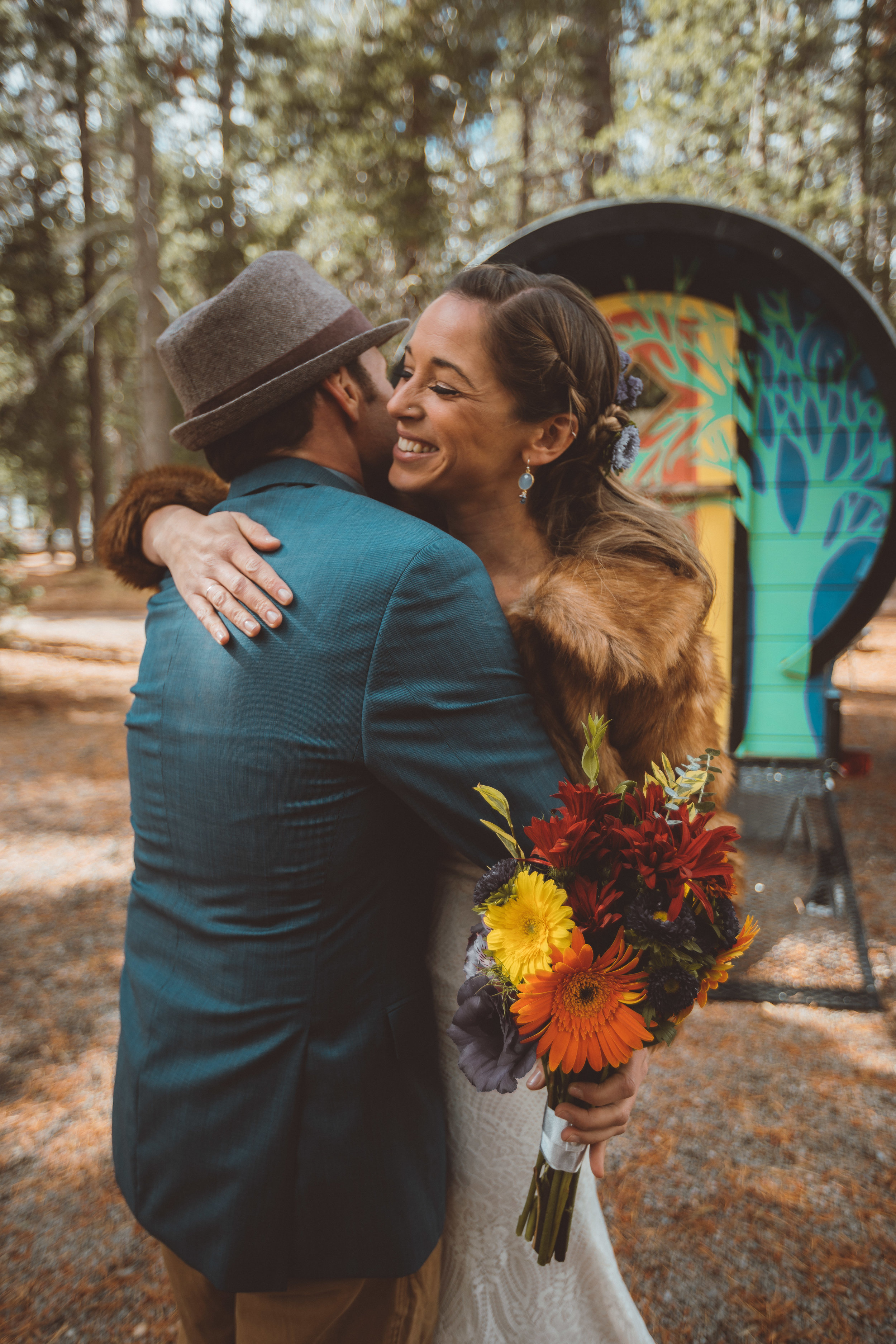 lake tahoe wedding first look couple happy
