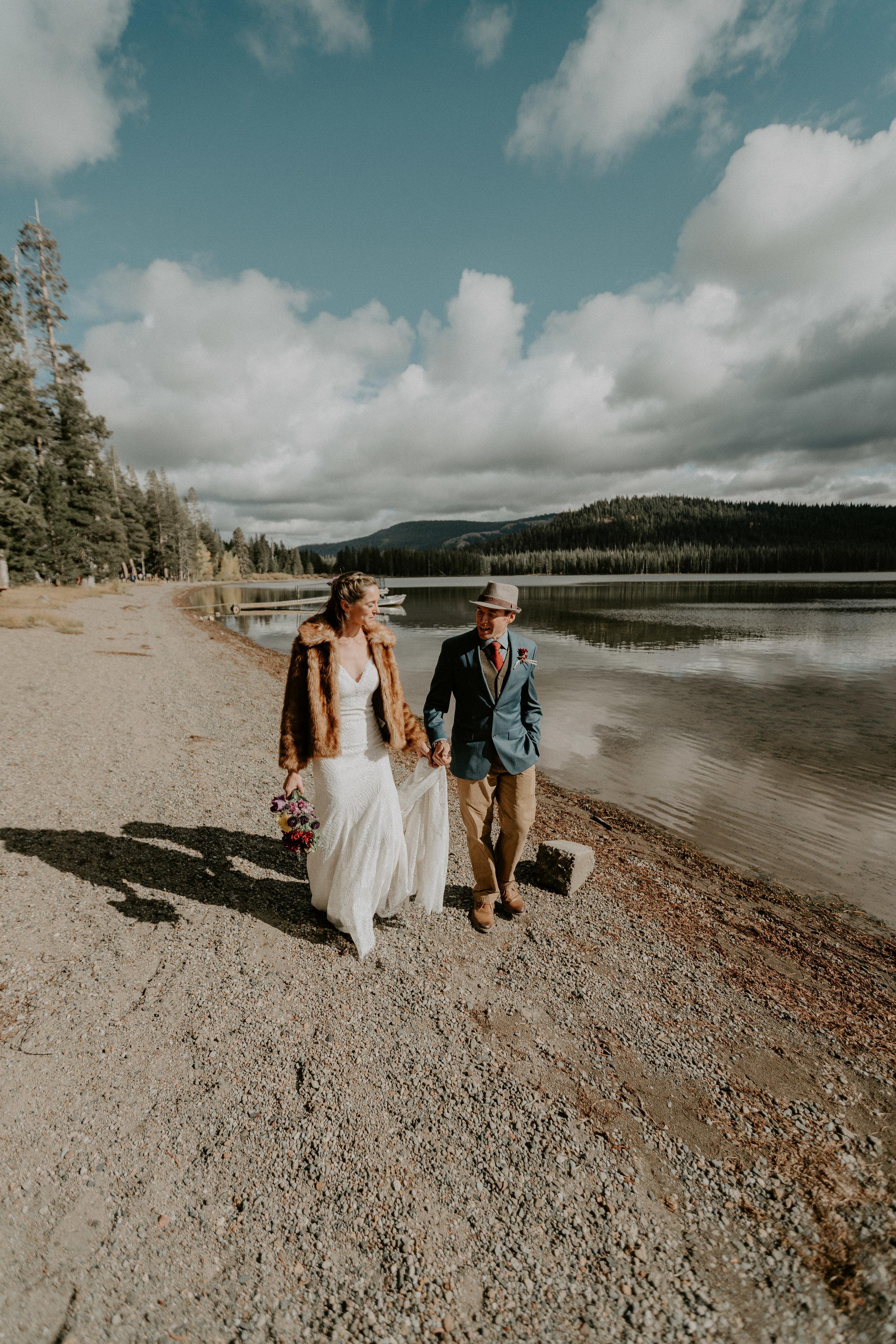 first look lake tahoe newlywed married webber lake campground wedding beach