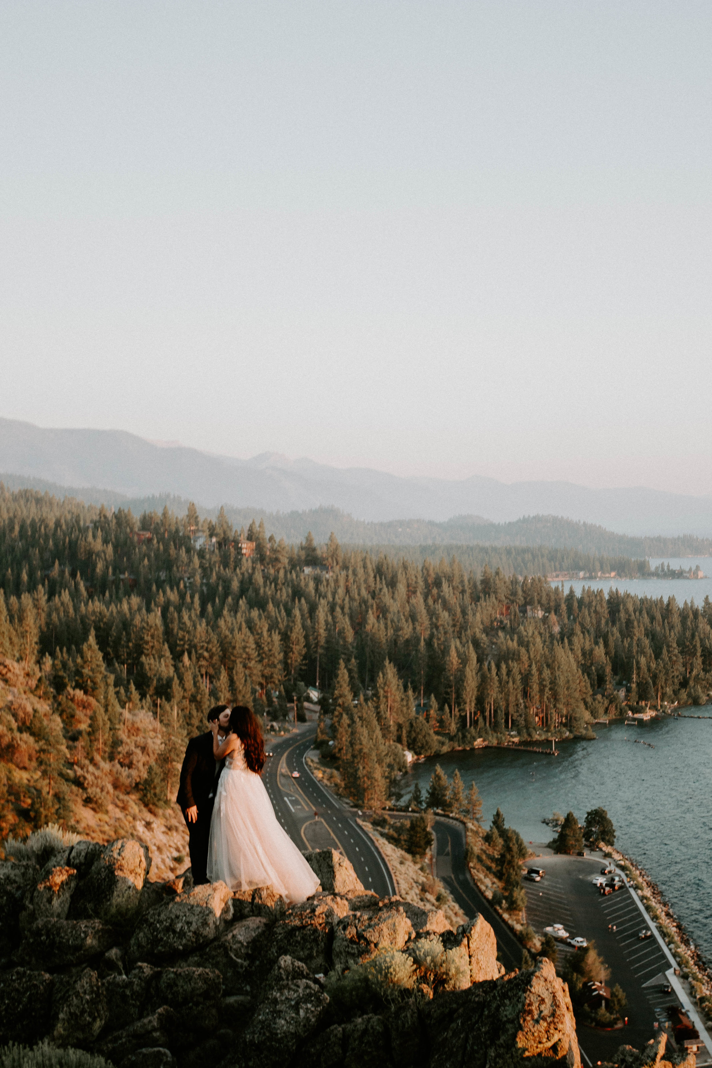 elopement cliff rock lake tahoe east beach shore mountain