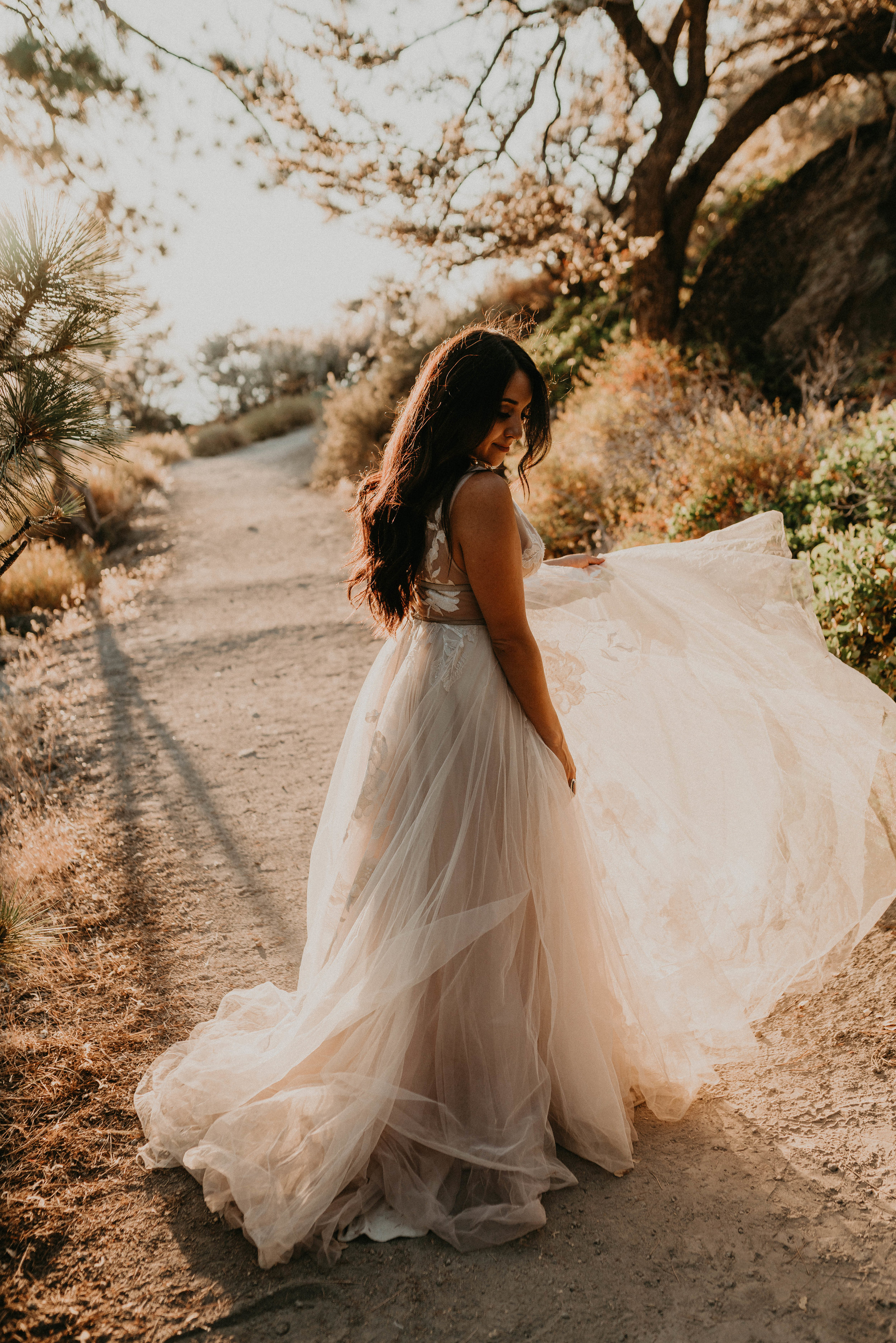 lake tahoe bride silhouette sunset wedding gown dress beautiful