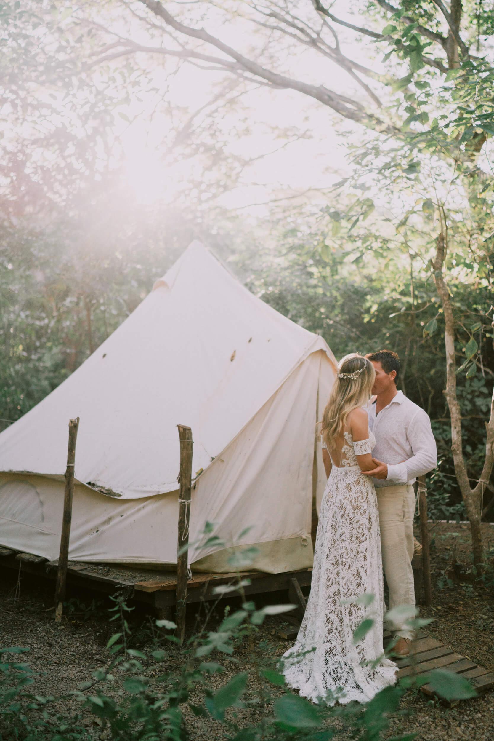 newlywed elope costa rica coast surf camp yoga beach wedding jungle