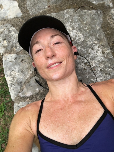 A moment of sweaty bliss after Sunday's two-hour run.