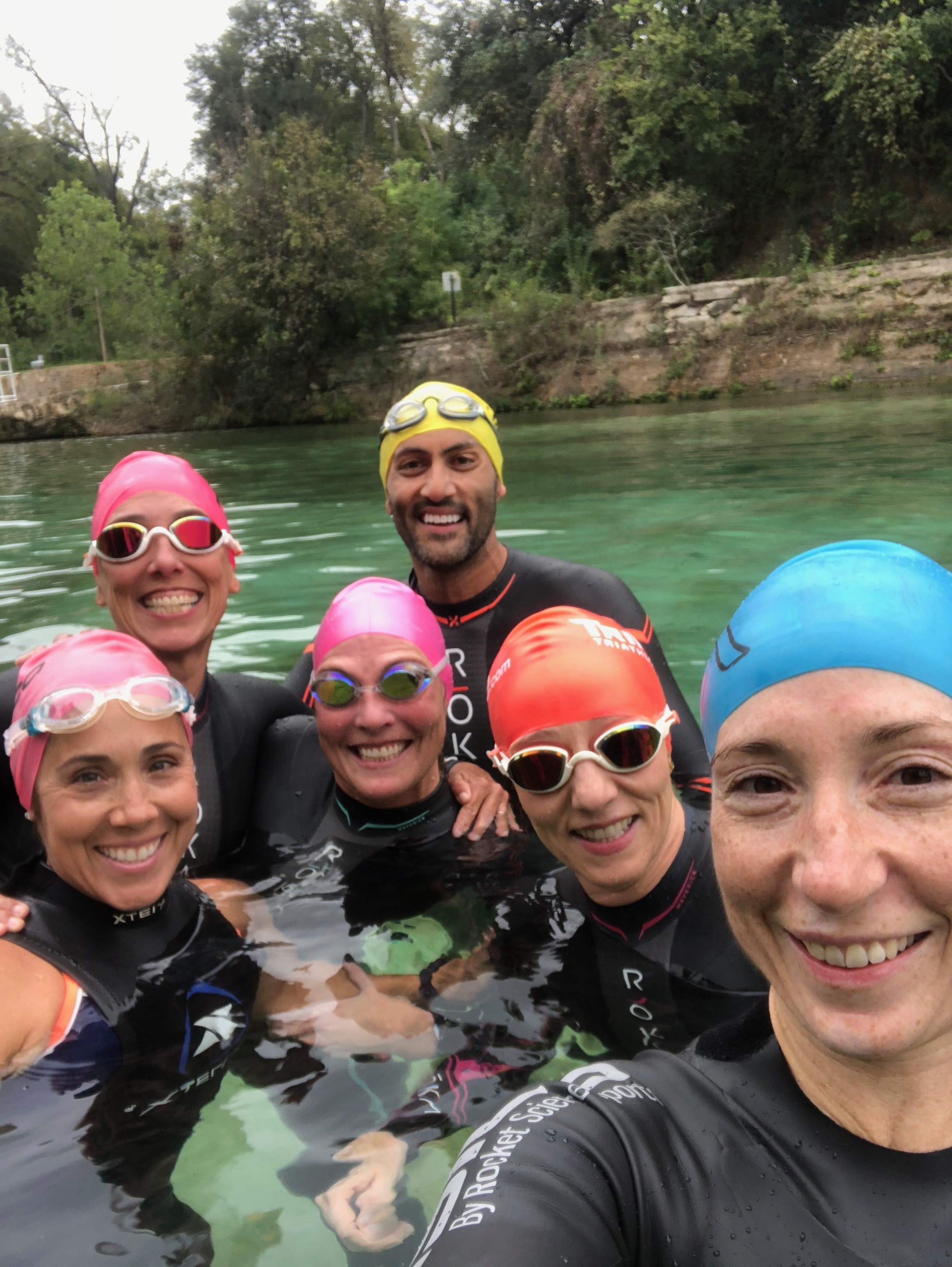 A little wetsuit practice at Barton Springs Pool with this team of bad-asses from the Austin Aquatics and Sports Academy.