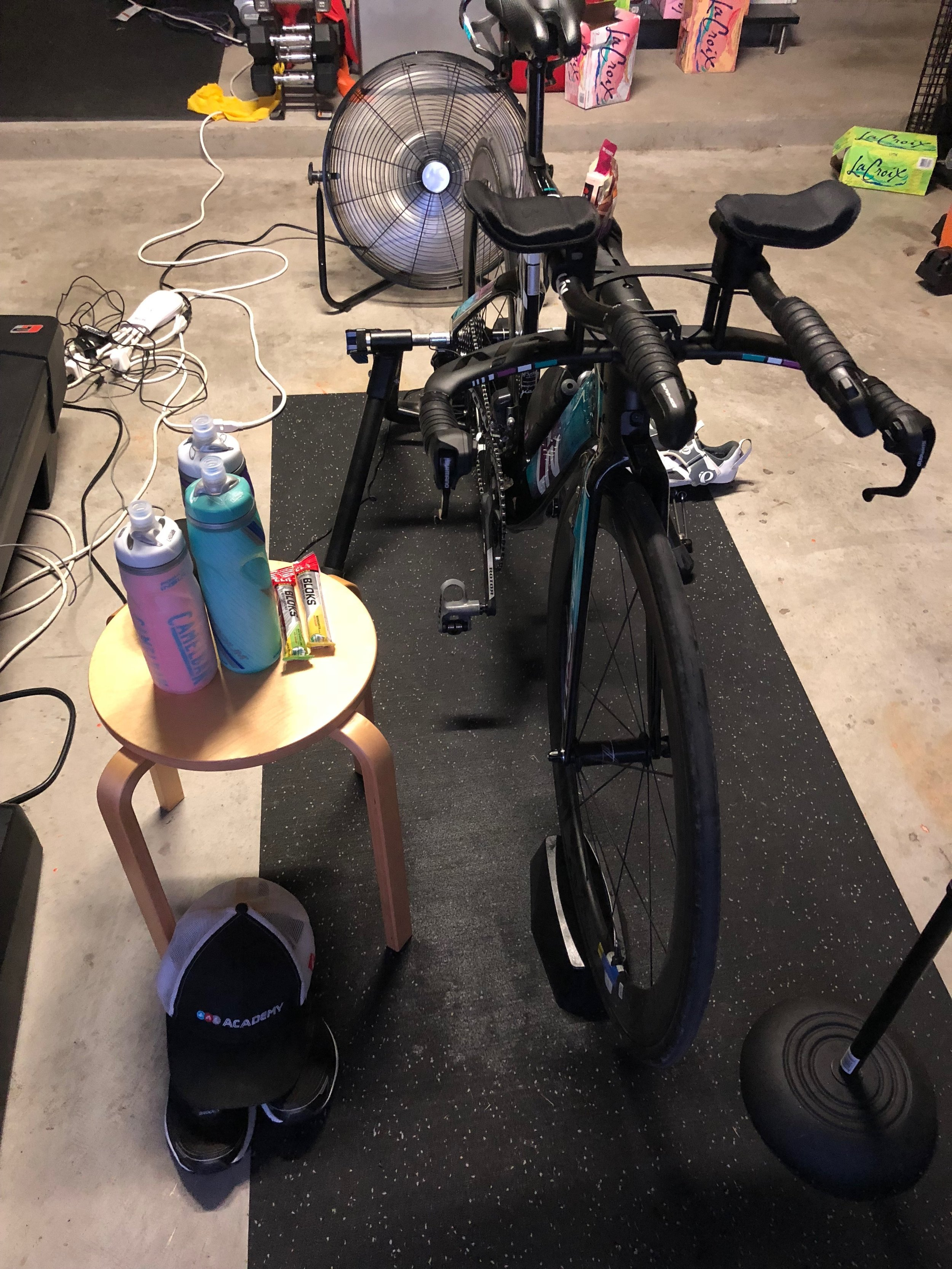 "Set up for some quality time in the ""gain cave"" getting in my last long ride before the race."