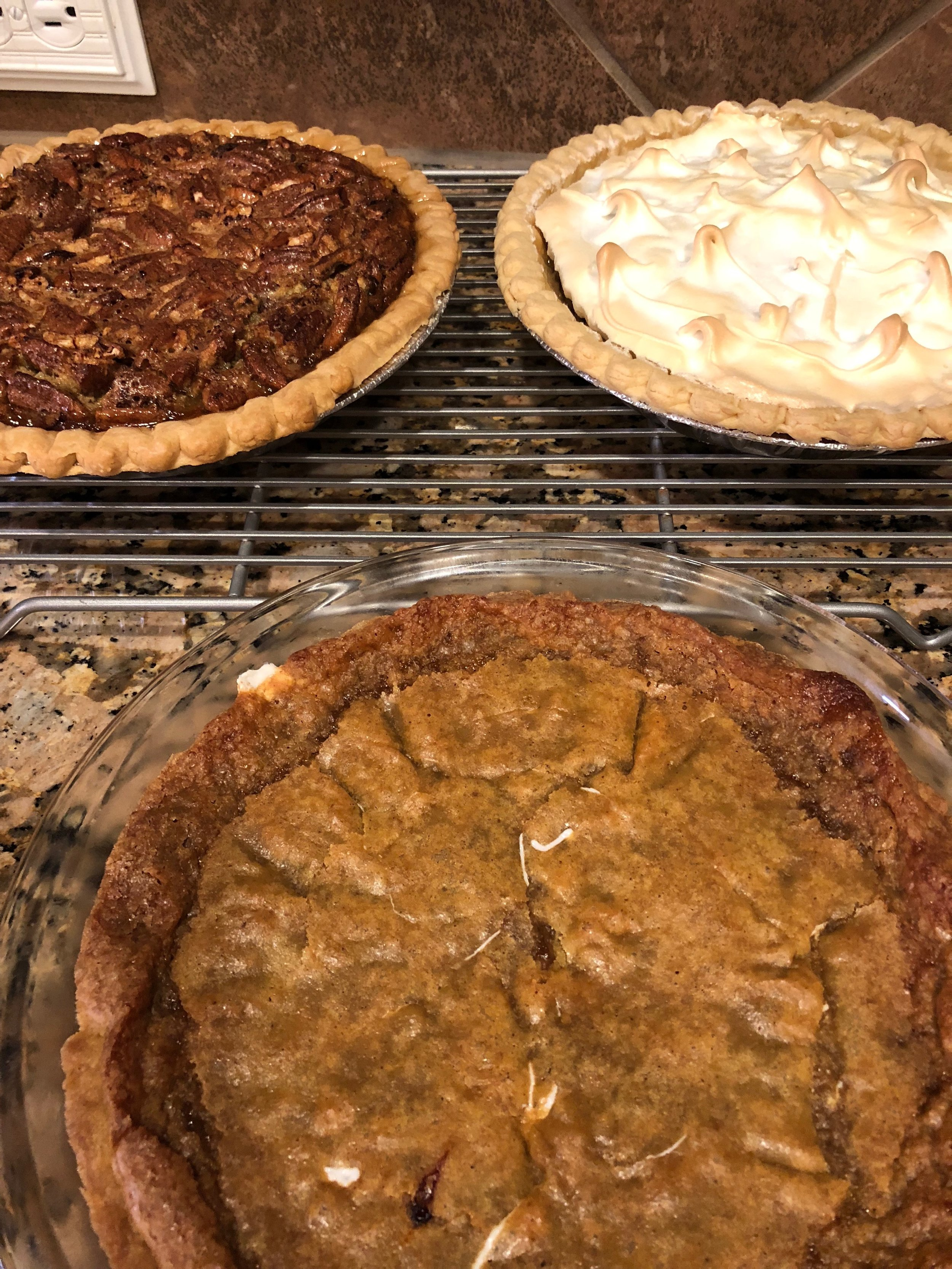 The THREE pies my mom and I made for Thanksgiving. Not pictured: the apple crisp Travis also made for Thanksgiving.