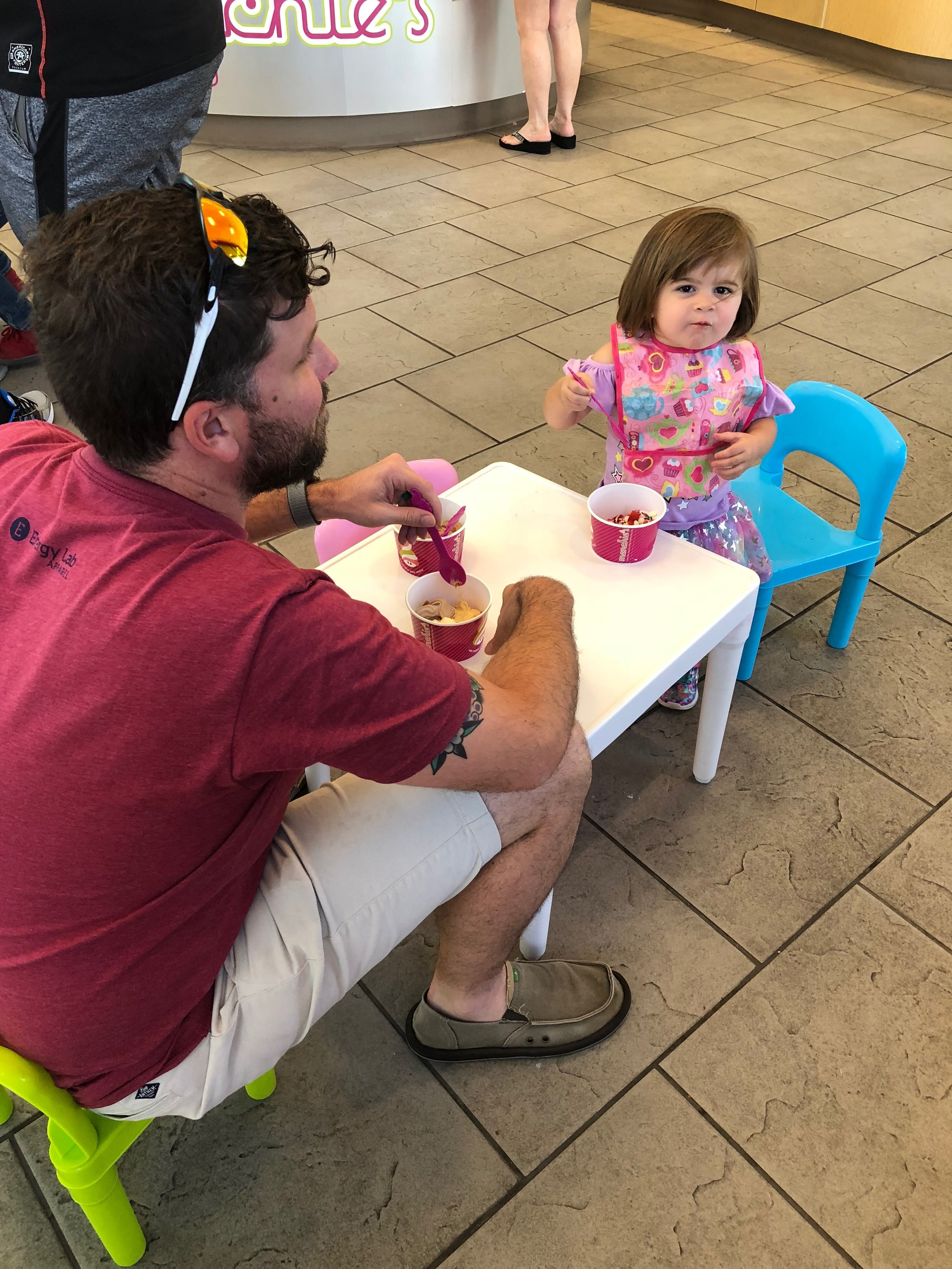 Celebratory post-race froyo with my loves. (Also, I'm so lucky this guy is behind the camera most of the time, because he is so clearly talented and I clearly am not in that arena. :) )