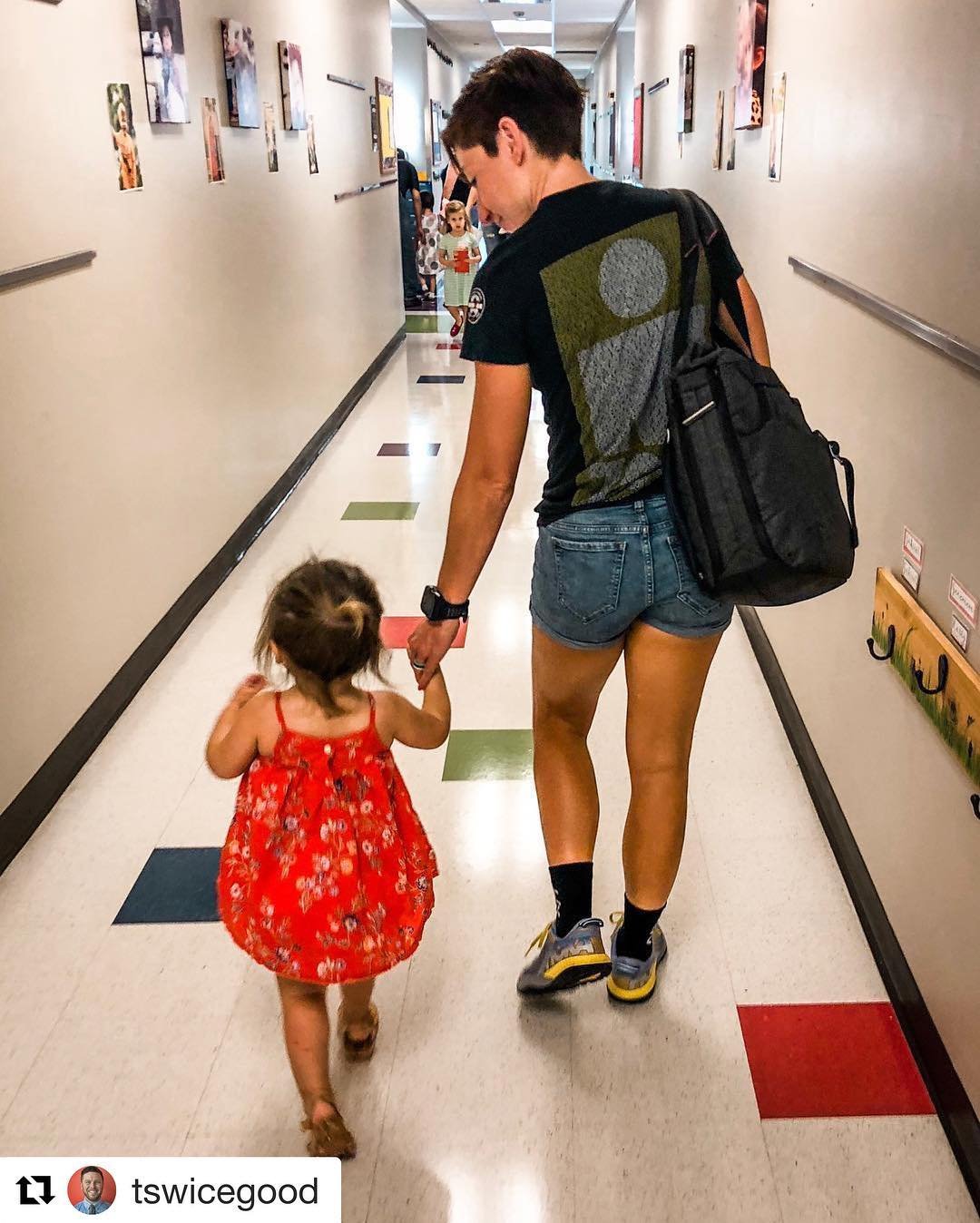 Adaline and I headed to meet her very first teacher.