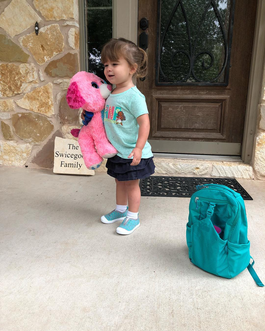 Adaline all ready for her first day of preschool.