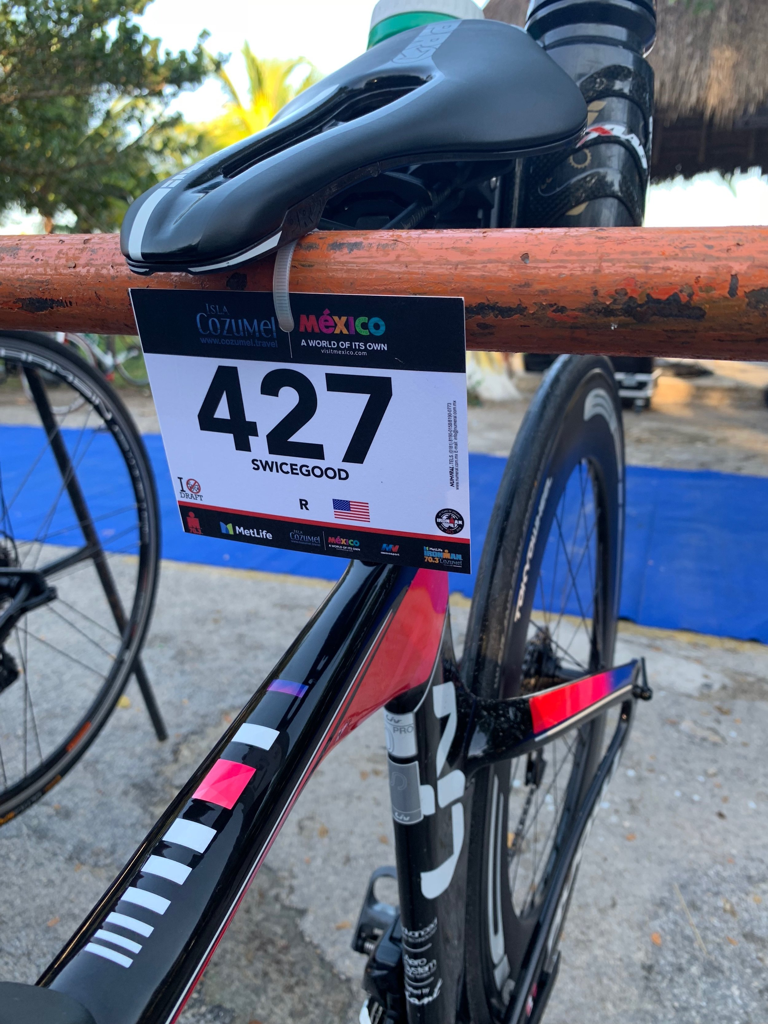 My bike racked in transition the day before the race.