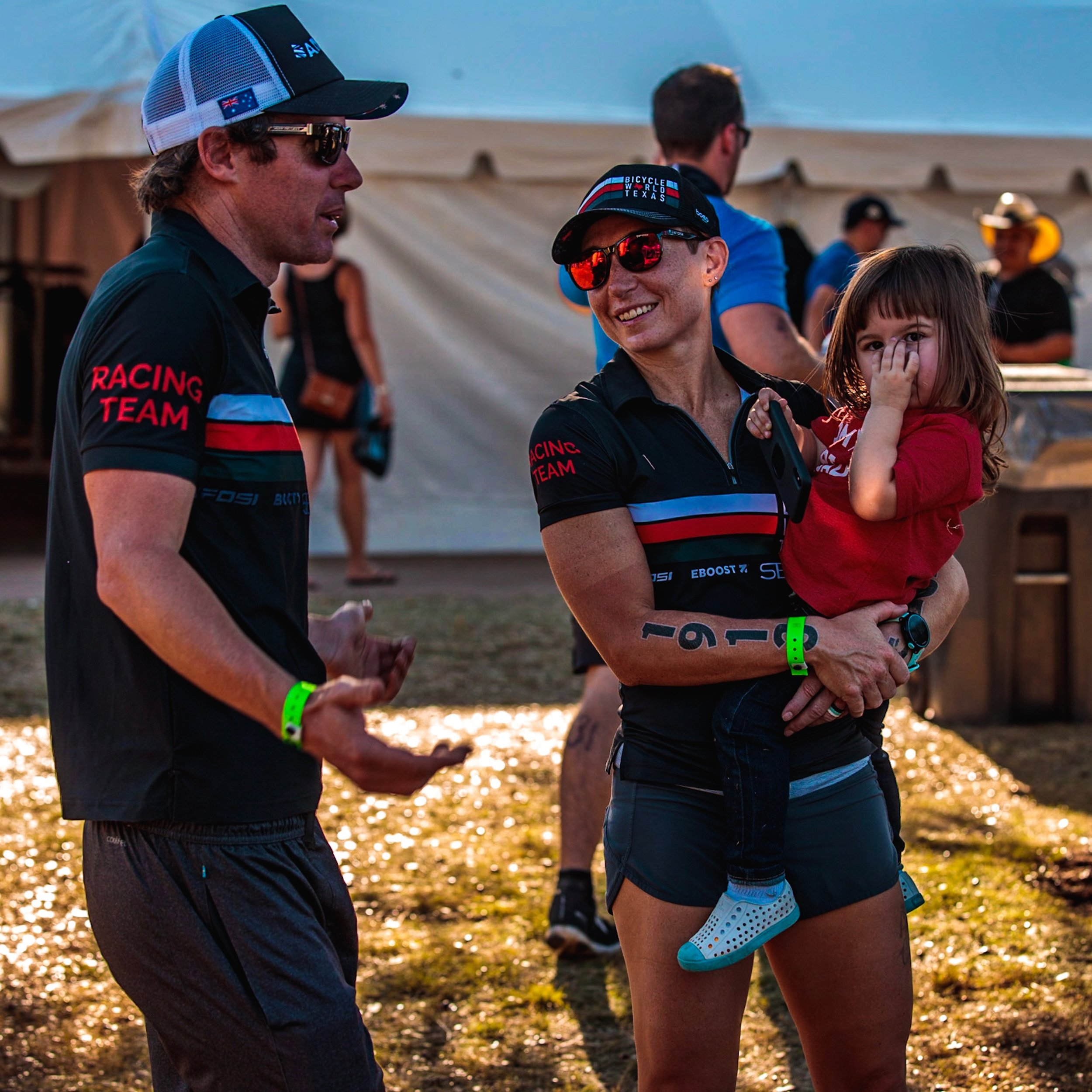 Me and Ada chatting with Barny after Ironman 70.3 Waco. (Photo by Travis Swicegood)