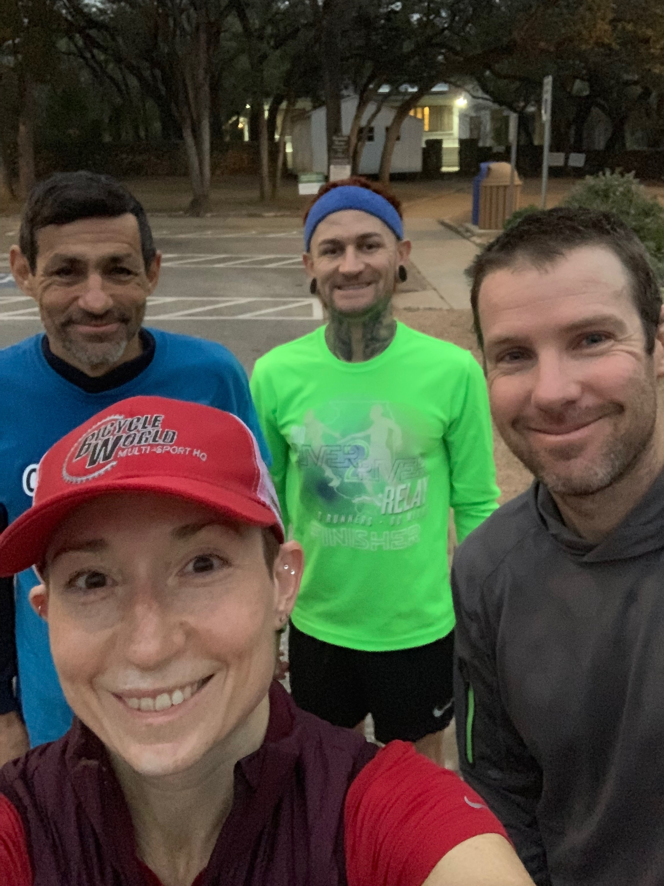 """The crew after one of Coach Barny's """"very cool"""" hill runs."""