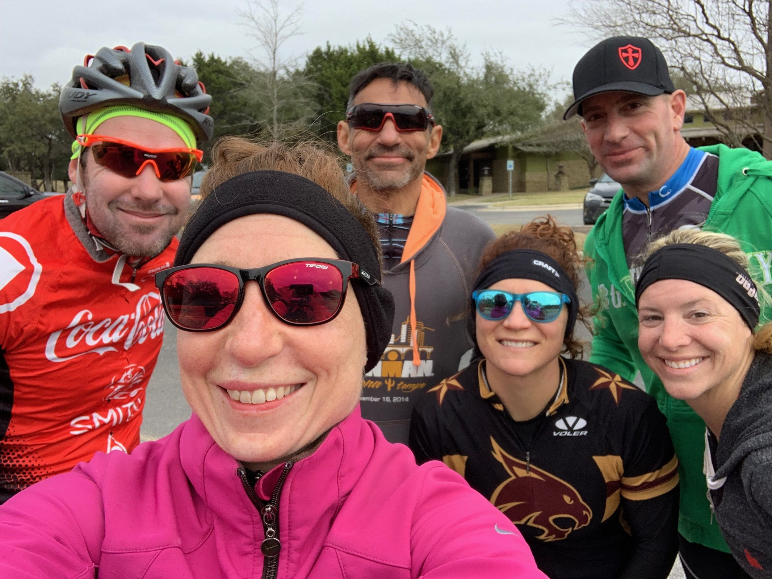 This bunch rode four hours of hills in the cold and wind on Saturday. (Left to right) Coach Barny, me, Padre Mora, Haley Koop, Matt Prentice, Carly Conrad.