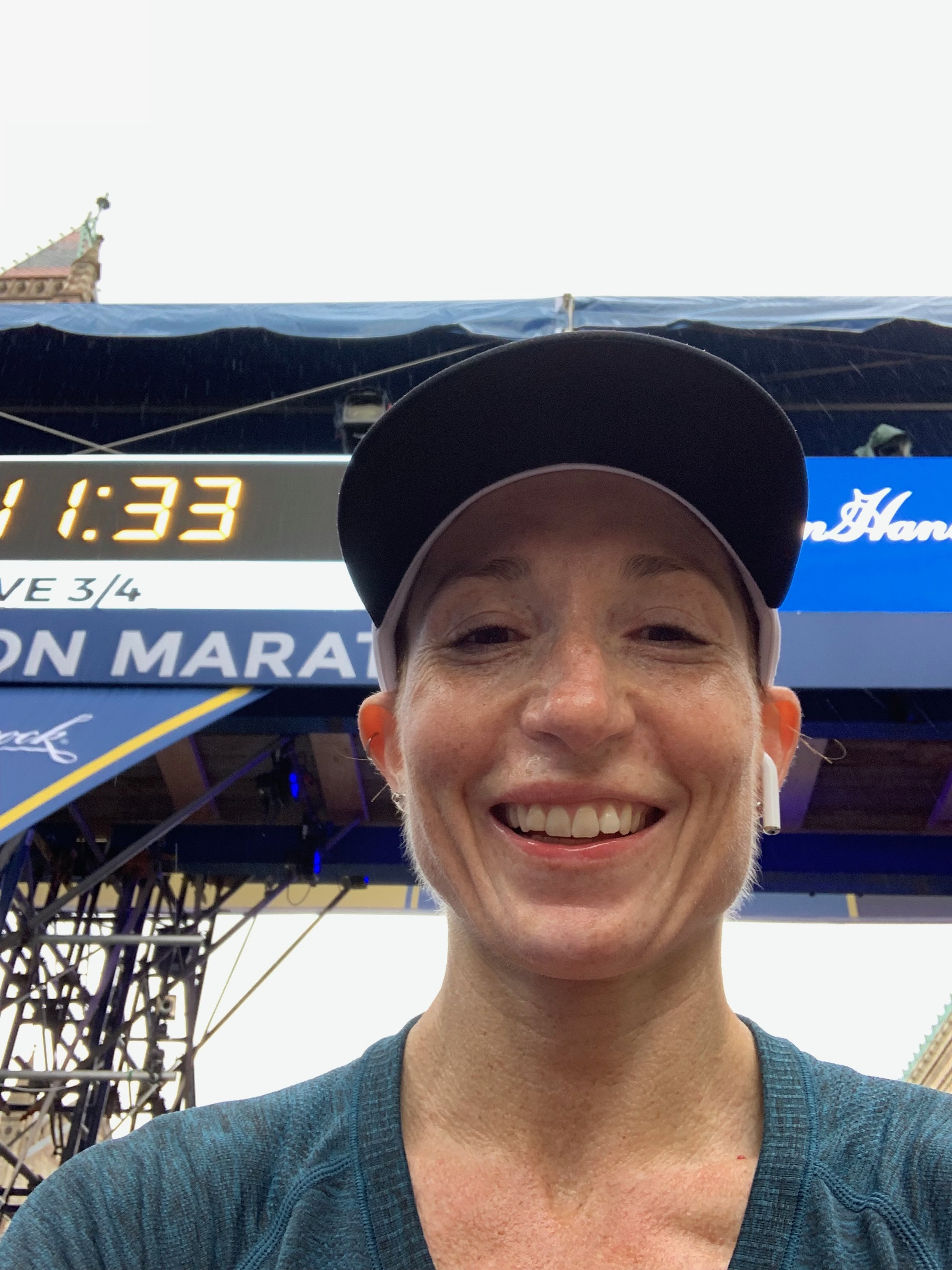 Finish line selfie at the Boston Marathon.