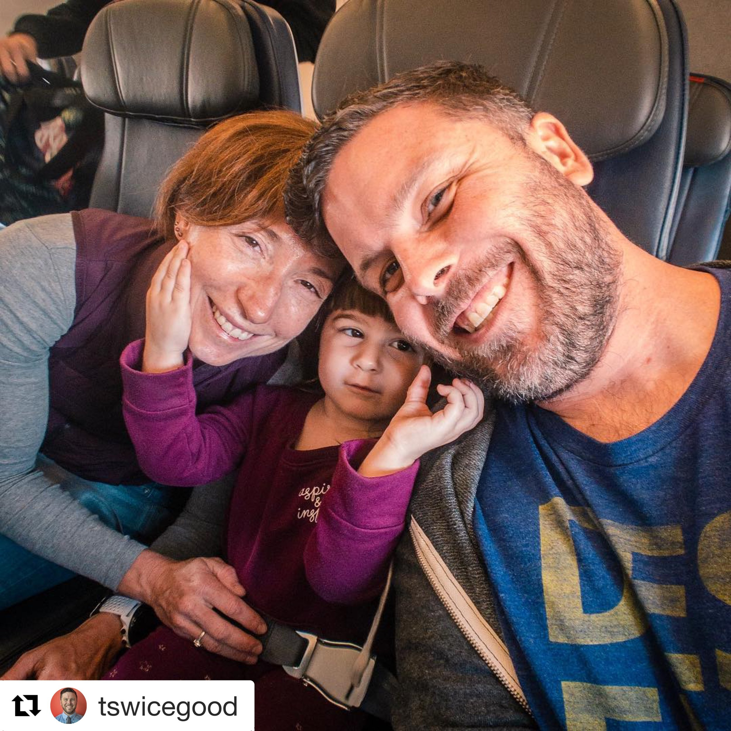 On the plane to Boston with my loves.