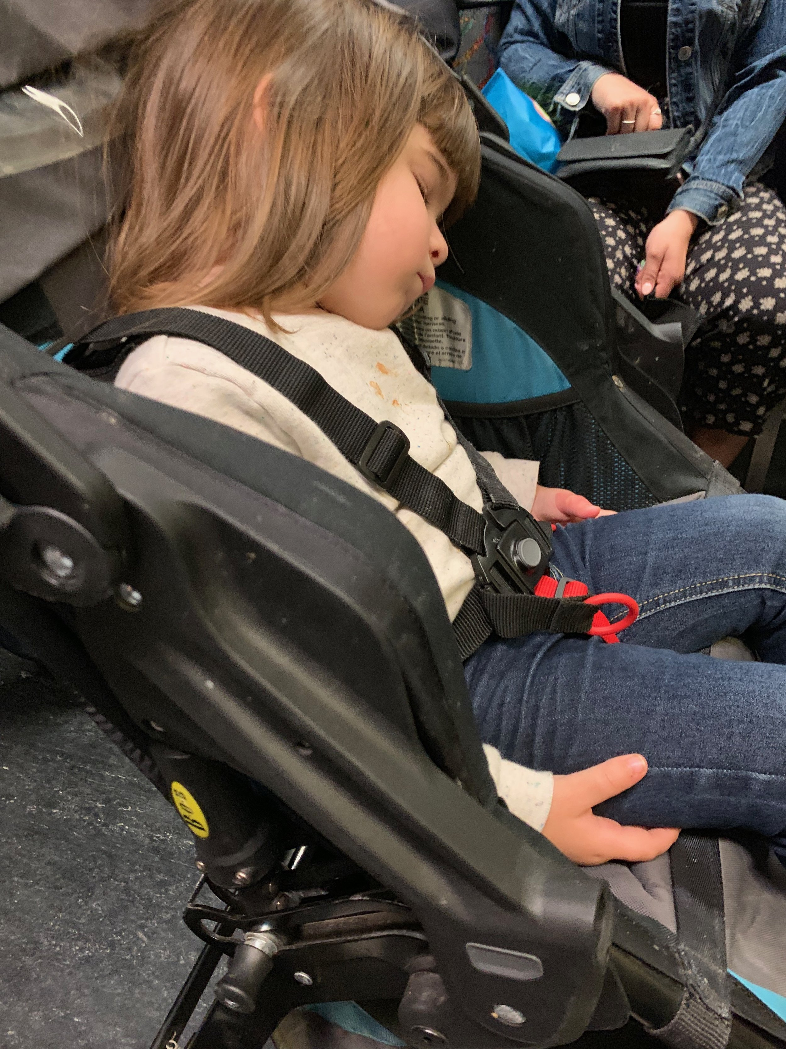 The only nap this sweet girl got in Boston - on the train between stops.