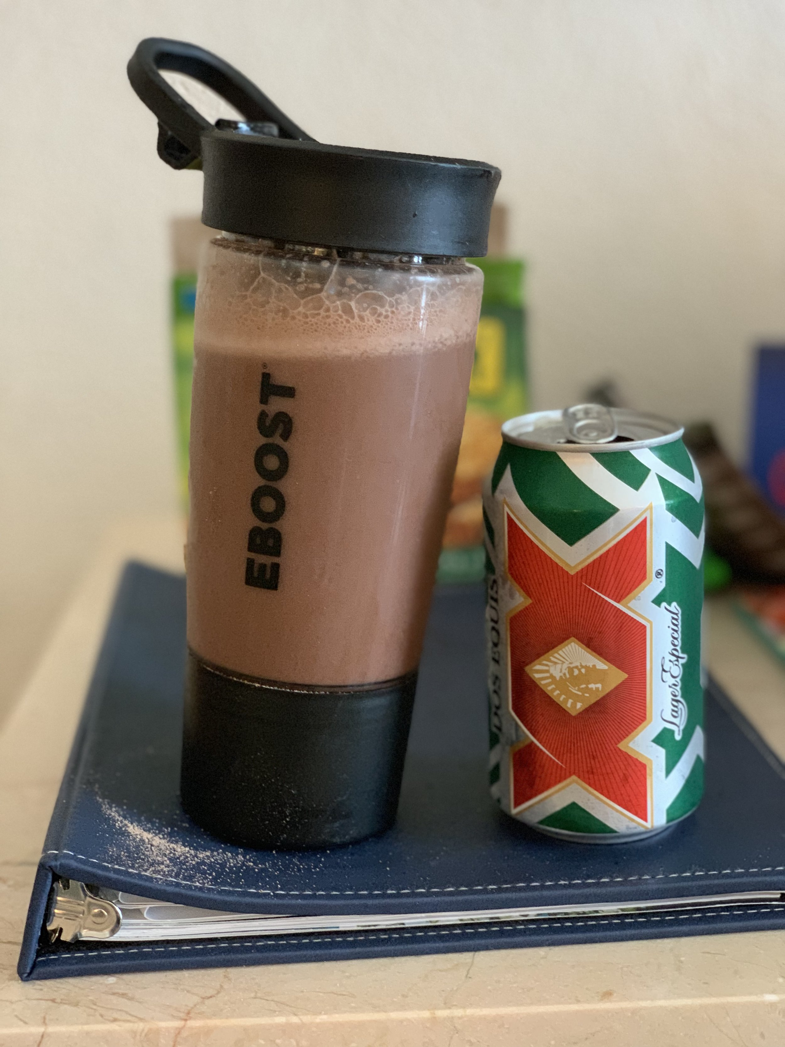 Following coach's orders:  EBoost Prime  recovery shake and booze. Not pictured: Poolside tequila shots and margaritas.