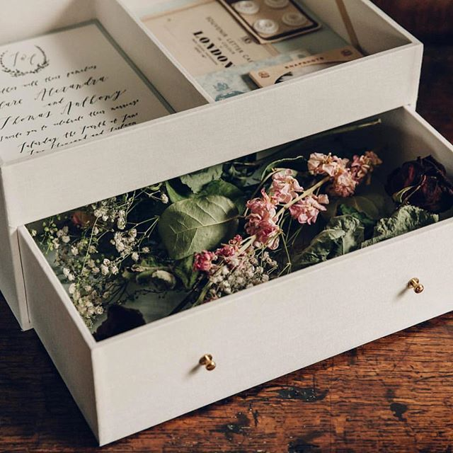 One of my favourite discoveries from @mostcuriouswedfair was @thesafekeepingsociety.  These custom made boxes are just gorgeous. Such an incredible way to gather the memories and trinkets from your wedding.  I'm seeing these for first birthdays, christenings, for yourself because you want a beautiful set of embossed drawers just for all the little things that you love... • • • • • • • • •  #favouritenewthing #capturememories #clothbound #stationery #creativepeople #inspired #mostcuriousweddingfair
