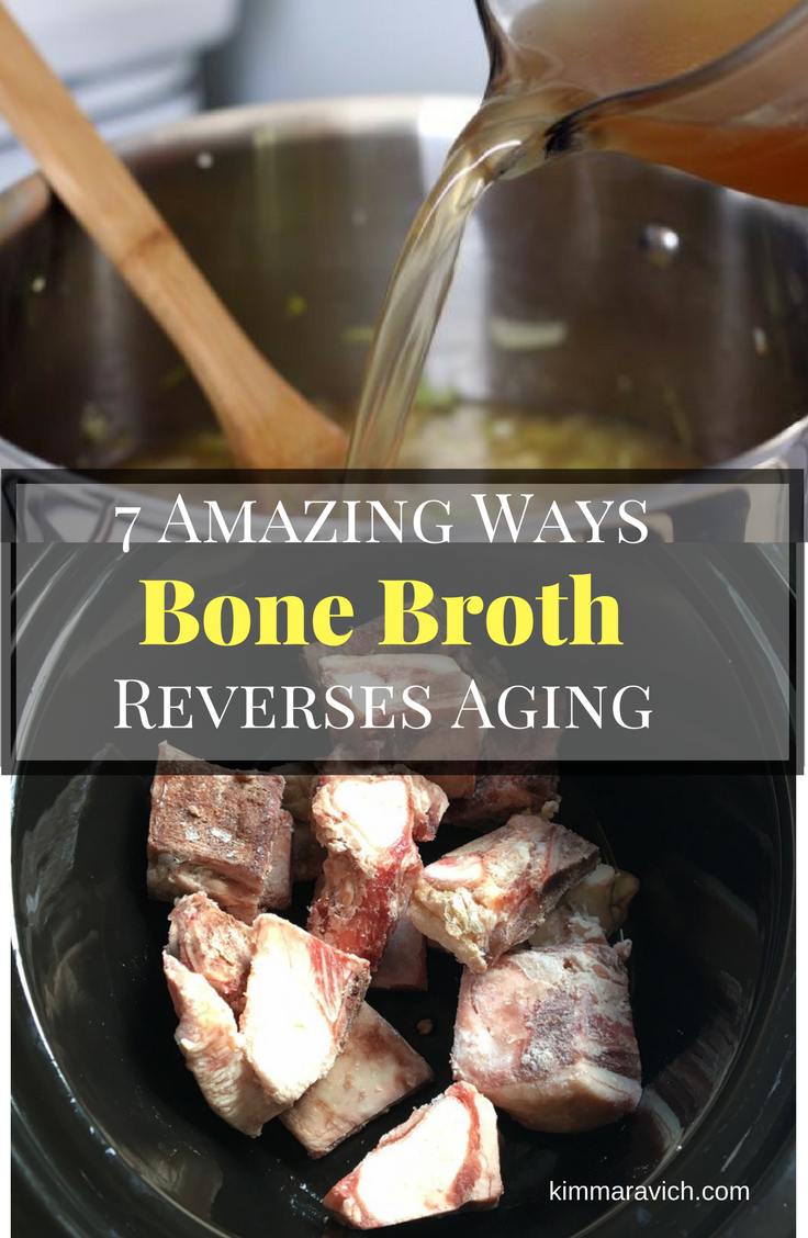 Bone broth improves joint health with collagen and gelatin, increases bone density, maintains muscle mass, helps skin and hair, heals the gut, boosts immunity, and detoxifies.
