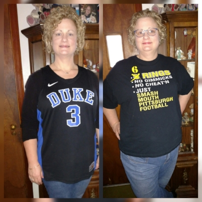 """Denise's """"After and Before"""" photos. She lost more than 100 pounds."""