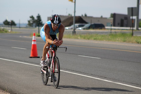 Matt racing at Ironman Boulder in Colorado - Ironman consists of a 2.4 mile swim, 112 mile bike and ending with a 26.2 mile marathon