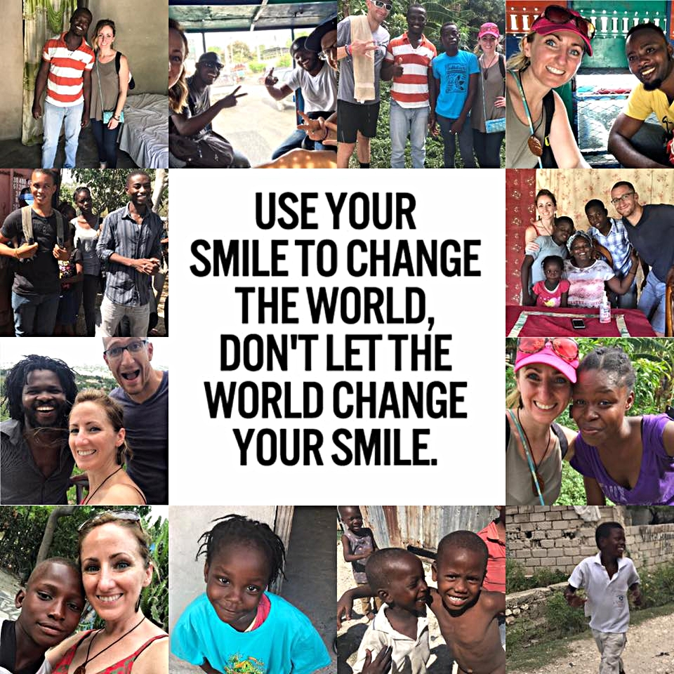 Picture collage of Matt and Kristen Mauclair's trip to Haiti with the families they help support.
