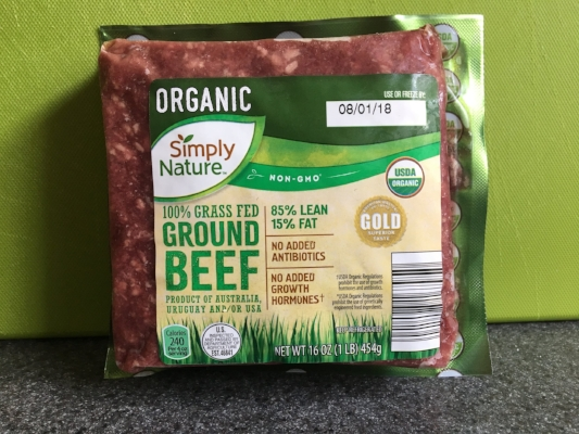 Organic grass-fed ground beef from Aldi