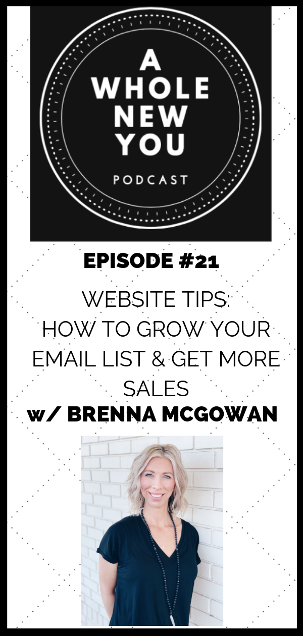 Brenna McGowan, emails, email marketing, websites, SEO, Google, key words, Welcome Series, freebies, pop-ups, MailChimp, blogs, About page, Home page, Products and Services, Pinterest, Headers, repurpose content, social media, Instagram