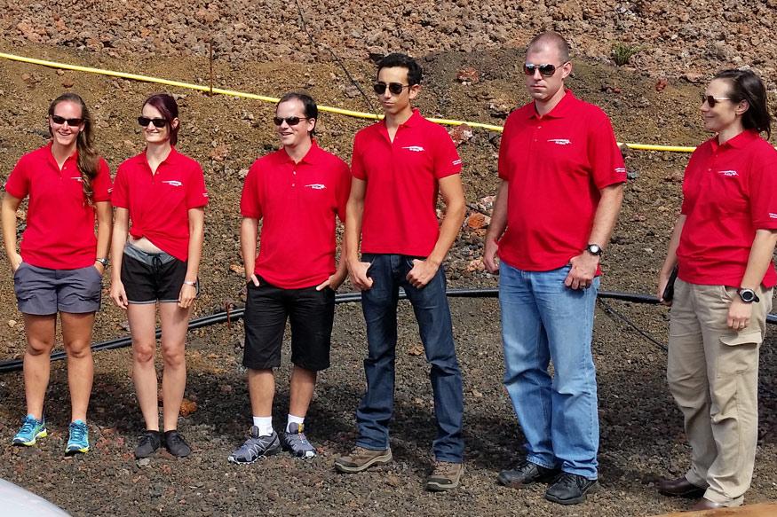 The HI-SEAS crew: Carmel, Christiane, Tristan, Cyprien, Andrzej, and Shey. Photo: Pete Roma / University of Hawaii at Manoa