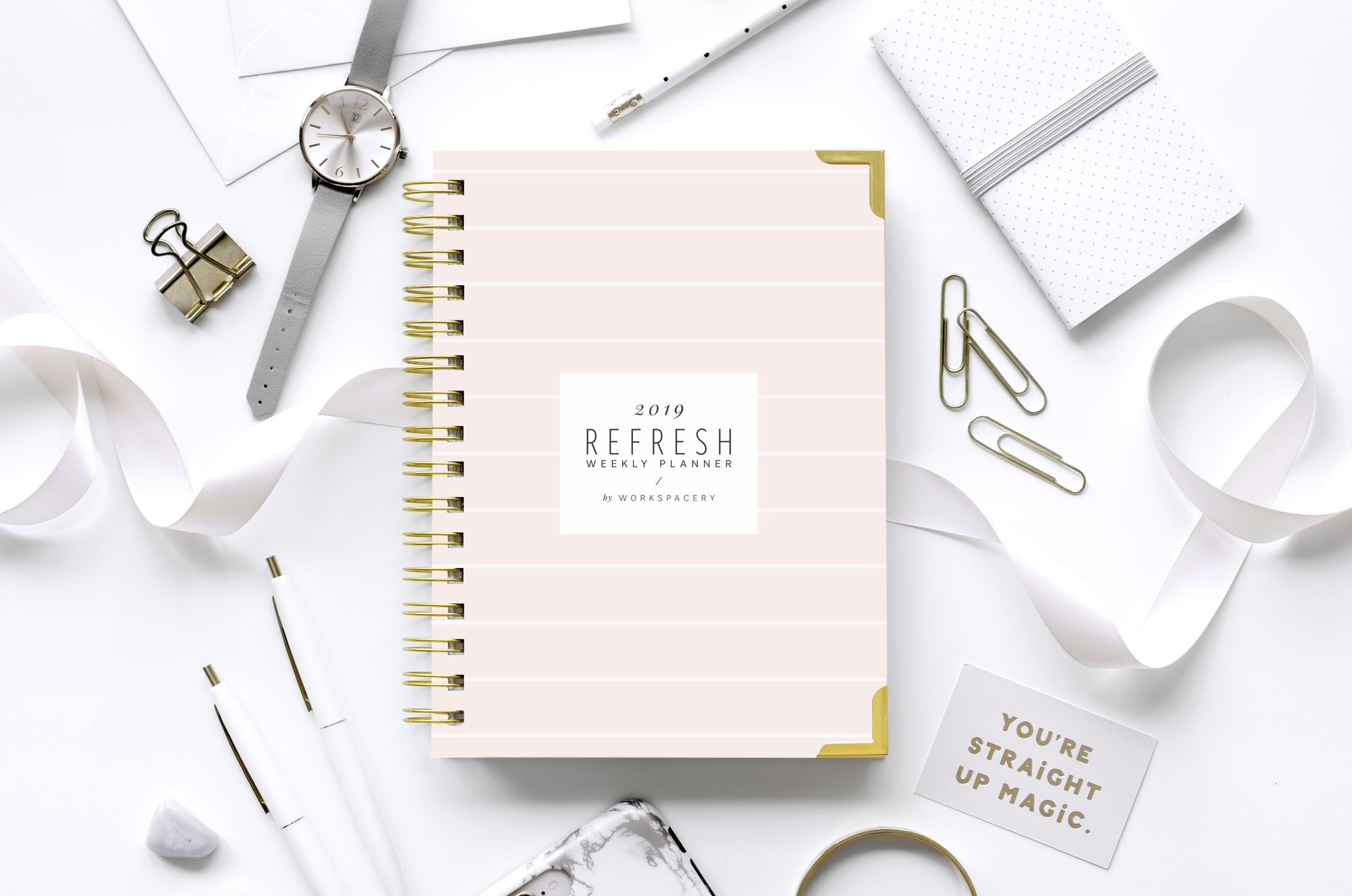 BSG is proud to be an affiliate for the 2019 Refresh Weekly Planner by Workspacery. - Minimally designed and featuring the dual weekly layout loved by all since day one, the 2019 Refresh Weekly Planner is taking your productivity and planning to the next level this year with intentional upgrades that make all the difference. Shop through the below link and a portion of your purchase will come back to BSG!Image via Workspacery.
