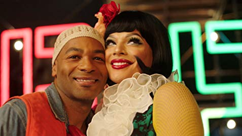 Brandon Dixon as Tom Collins (left) and Valentina as Angel (right)