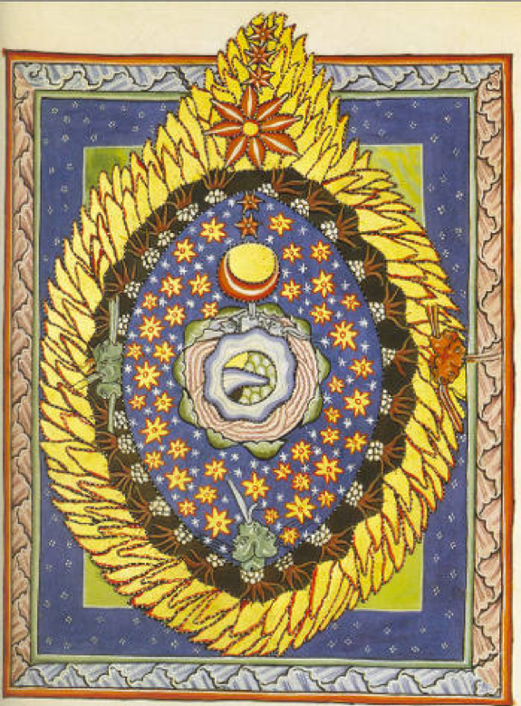 Scivias-Codex Plate Four - The universe surrounded by the feminine divinity (yellow flames)