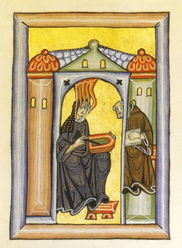 Scivias-Codex Plate One - Hildegard receiving a vision and dictating it BECAUSE women be multi-tasking.