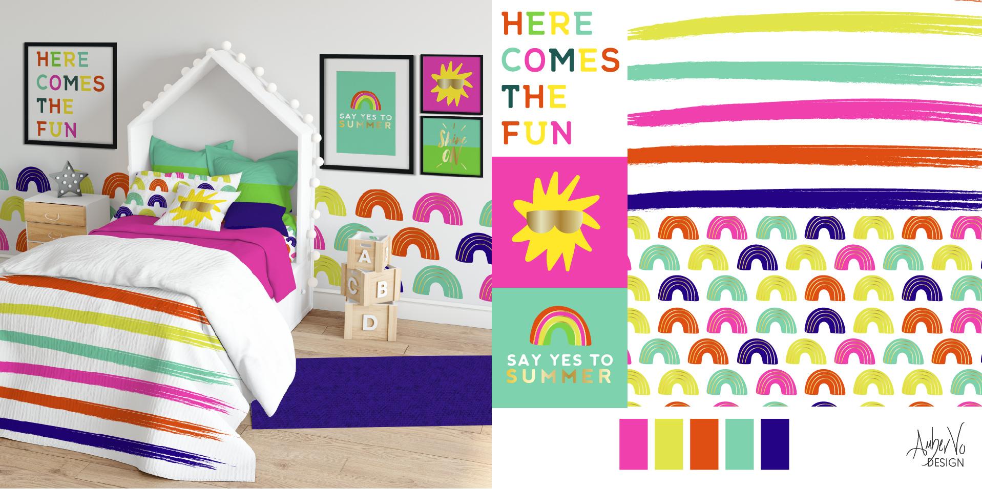 ambervodesign-summerfunrainbowneonbrightchildrensbeddingpattern_privatelabelsurfacedesign-kidsroom-summertropicalpattern.jpg