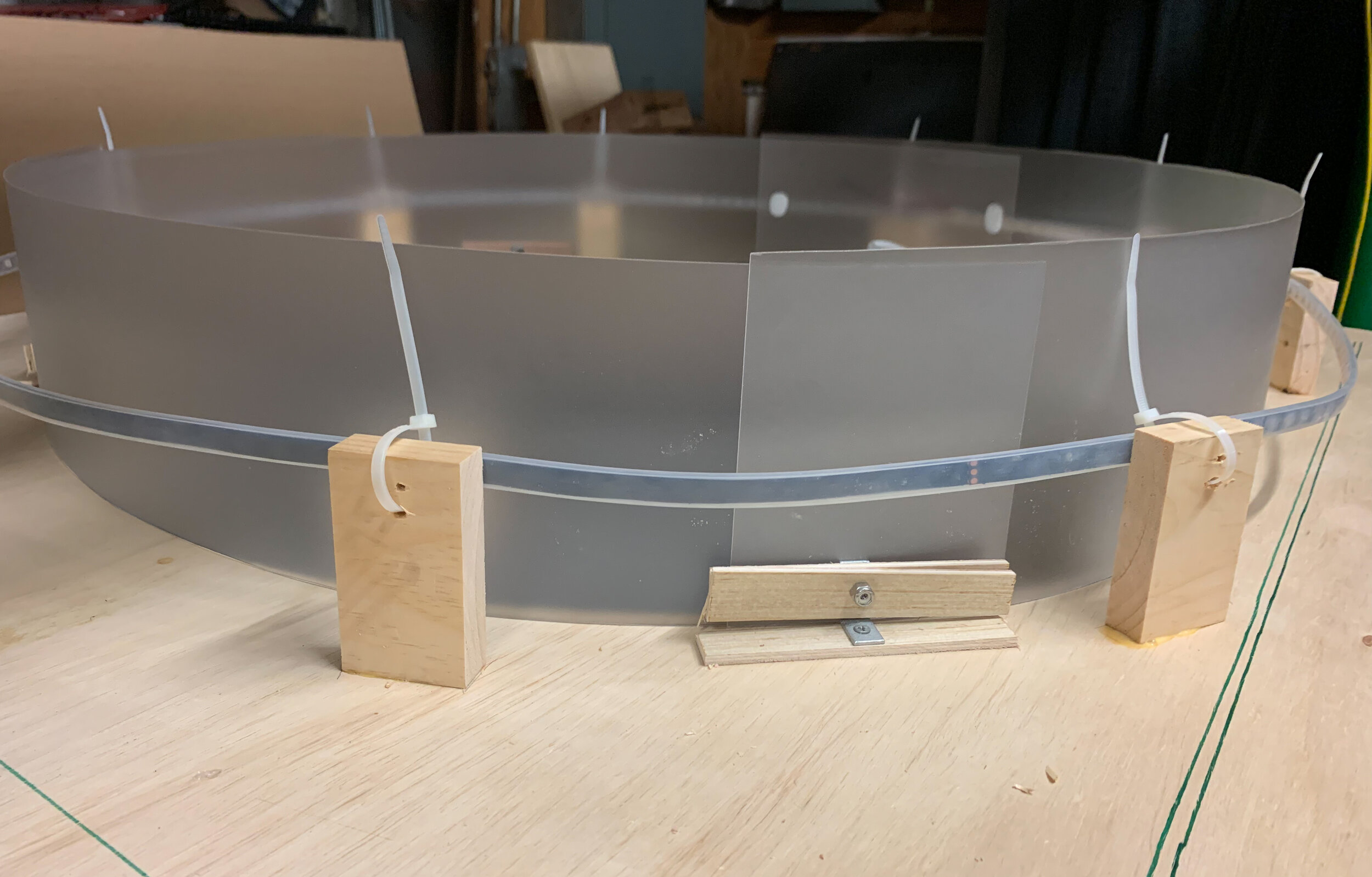 Building a plastic rim to diffuse light