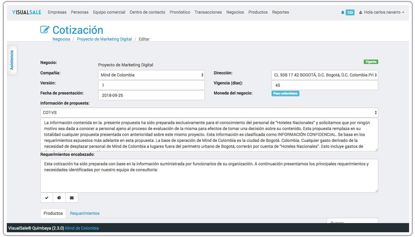 Cotizacion Encabezado VisualSale CRM.jpg