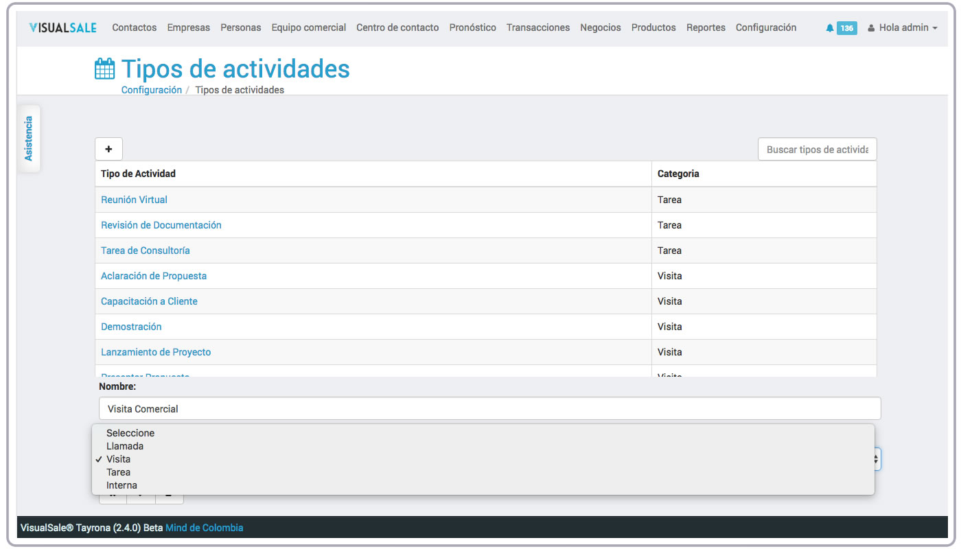 Tipo Actividad VisualSale CRM.jpg
