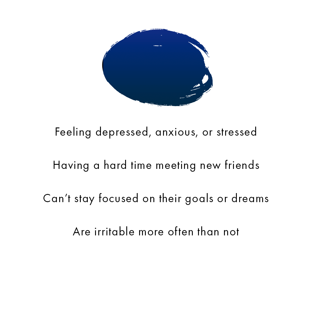 [Image] A purple and dark blue paint splash followed by text that reads feeling depressed, anxious, or stressed, Having a hard time meeting new friends, Can't stay focused on their goals or dreams, Are irritable more often than not. Interfaith Bridge Counseling offers teen therapy groups in Denver, Colorado.