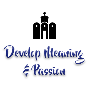 "[Image]A non-denominational house of worship building in black, followed by purple text that reads ""Develop Passion & Meaning."" Interfaith Bridge Counseling offers low-cost counseling to twenty-somethings in Denver, CO."