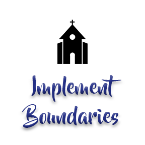 "[Image]A Christian house of worship building in black, followed by purple text that reads ""Implement Boundaries."" Interfaith Bridge Counseling offers low-cost counseling to twenty-somethings in Denver, CO."