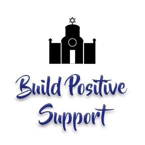 "[Image]A Synagogue house of worship building in black, followed by purple text that reads ""Build Positive Support."" Interfaith Bridge Counseling offers low-cost counseling to twenty-somethings in Denver, CO."