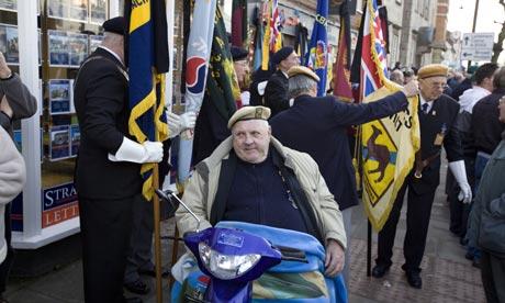 Members of the British Legion preparing for a repatriation procession Photograph: Martin Argles/guardian.co.uk