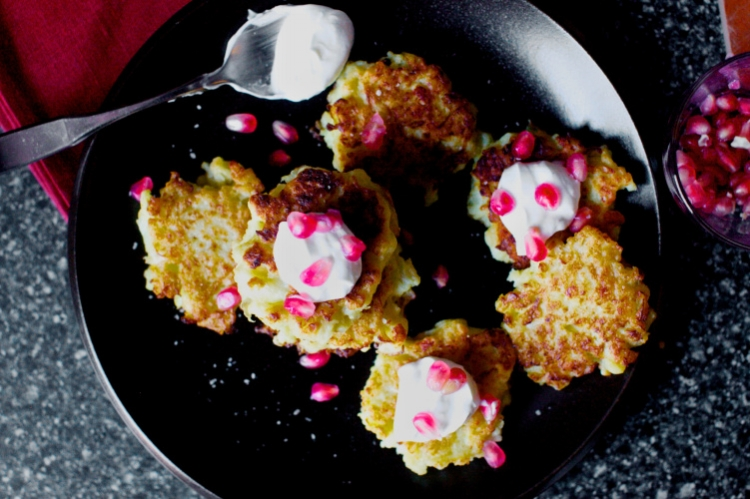 Cauliflower Feta Fritters, picture courtesy of Smitten Kitchen https://smittenkitchen.com/2012/12/cauliflower-feta-fritters-with-pomegranate/