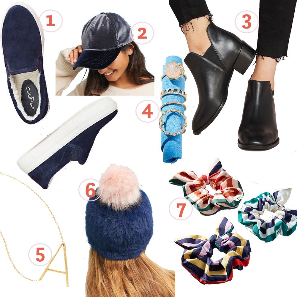 1.  Shearling-lined Sneakers  2.  Velvet Ballcap  3.  Seychelles Chelsea Boots  4.  Ring Set  5.  Monogram Necklace 6.  Pommed Beanie  7.  Striped Scrunchies