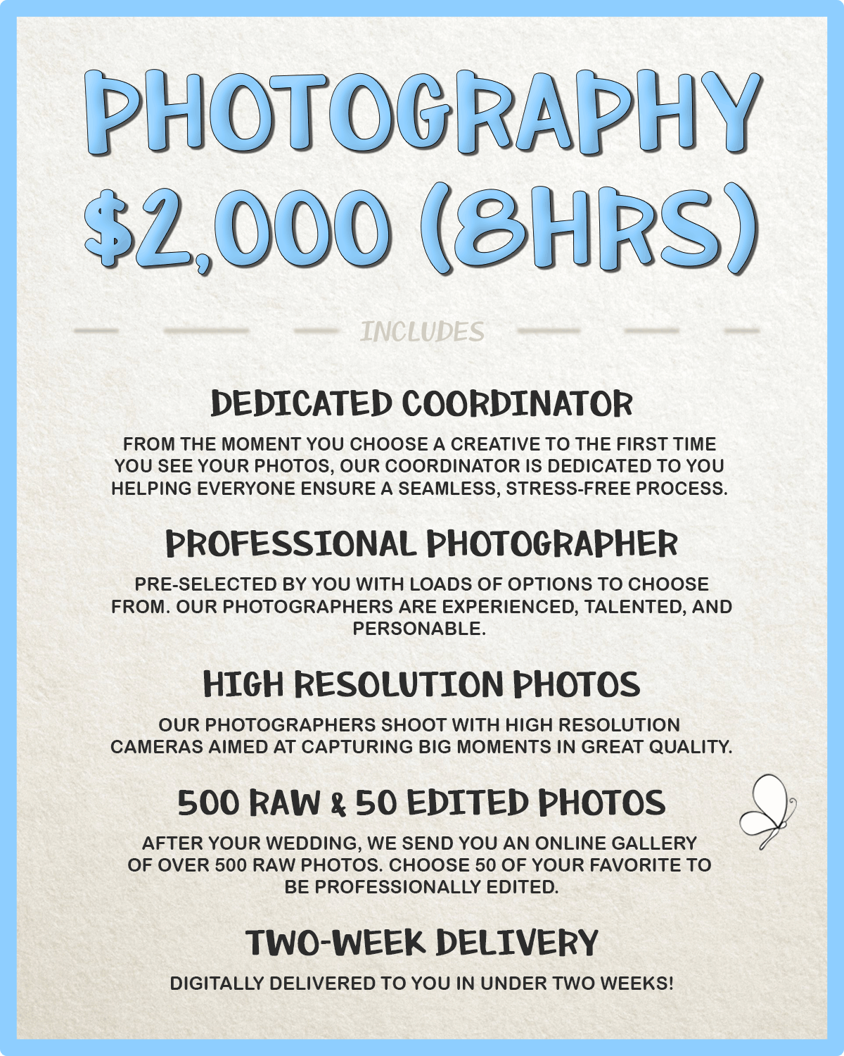 Weddings Recorded Photography Prices