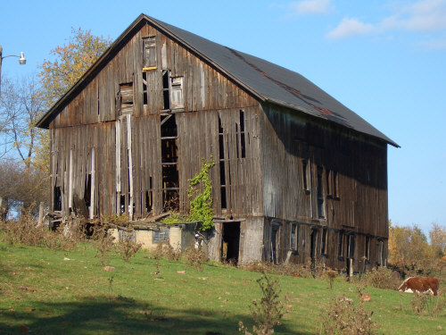 Dilapidated barn with real character