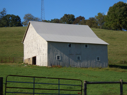 White Barn with Metal Roof