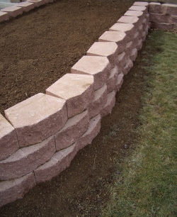 Finishing the planter - Ensure there is good drainage behind your wall by adding more granular fill along the back of the wall stones and in the joints, prior to adding your topsoil mix. 2b limestone usually works best for drainage situations in our area, check your local supply yard for product availability and their recommendations.Raised beds, like the one seen here, provide the perfect opportunity to create a good soil mix for excellent growing conditions. In this case, shredded topsoil was mixed with mushroom manure and 10-10-10 fertilizer. Other soil amendments might include compost, sharp sand or peat moss. If your soil mix needs lime to raise the pH into the proper range, this is the best time to mix in the lime. Reseed damaged lawn areas around the new wall as needed.